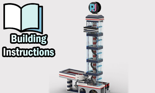 Buy NOW pdf building instructions on PayPal for this LEGO Great Ball Contraption (LEGO GBC, Marble Run) | RJ Tower v1 from RJ BrickBuilds | Planet GBC