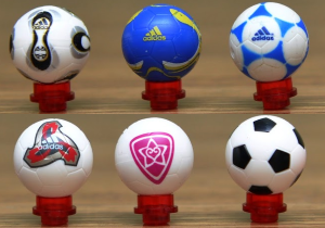 Different kinds of soccer balls, having special patterns