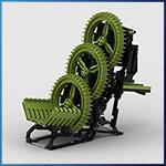 Module LEGO GBC: Tri Wheel Lane Splitter de Stork - LEGO Great Ball Contraption - Planet-GBC