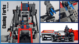 Closing Forks - a LEGO Great Ball Contraption (GBC) from Sawyer - building instructions available on Planet GBC