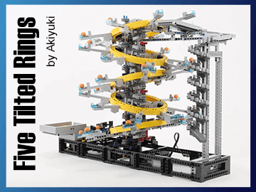 Five Titled Rings - Reproduce this LEGO Great Ball Contraption (LEGO GBC) thanks to building instructions - Akiyuki - Planet GBC